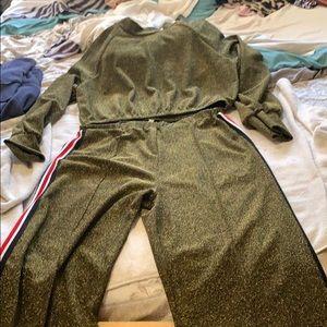 Fashion Nova 2 piece Metallic Gold Pant Set